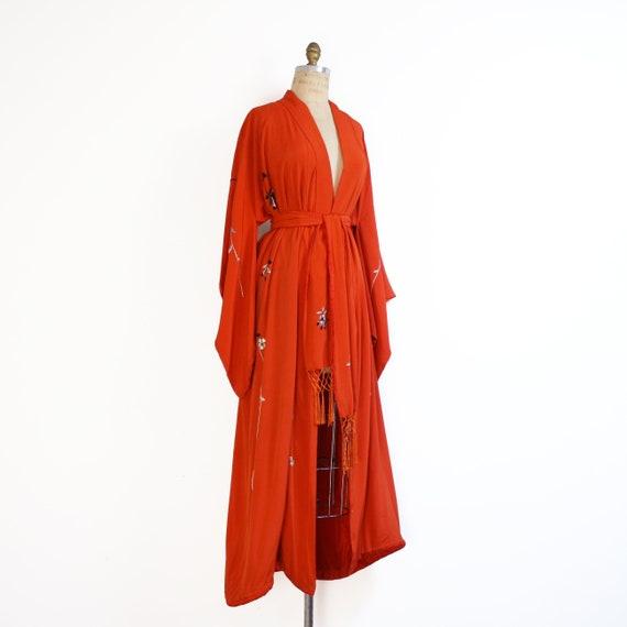 early 20th century crepe silk embroidered kimono … - image 4