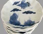 SET OF 6x KOSOMETSUKE Dishes, Antique Blue White Flower Shape Porcelain Saucers, Crane Decoration, Chinese Fine Arts Collectibles