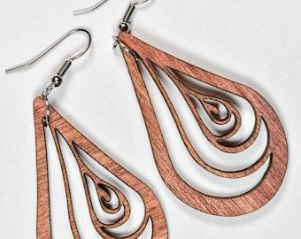 Teardrop Earrings - Woodcut or Acrylic Color Options