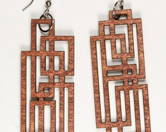 Overlapping Rectangles Earrings - Woodcut or Acrylic Color Options