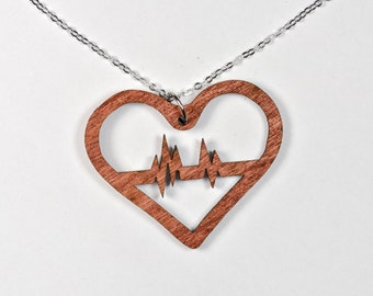 Heartbeat Necklace - Woodcut or Acrylic Color Options