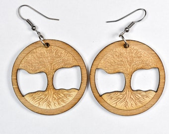 Tree of Life Earrings - Woodcut or Acrylic Color Options