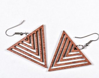 Triangle Earrings - Woodcut or Acrylic Color Options
