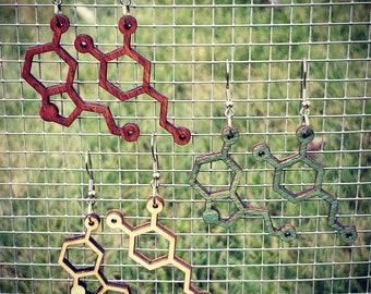 Serotonin  and Dopamine Earrings - Woodcut