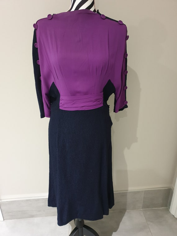 Vintage navy and purple day dress