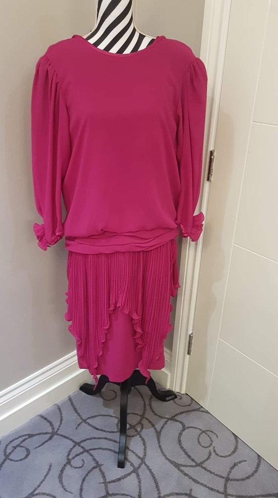 Cerise pink 1980s flapper style dress