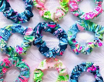 Three Lilly Fabric Hair Scrunchies
