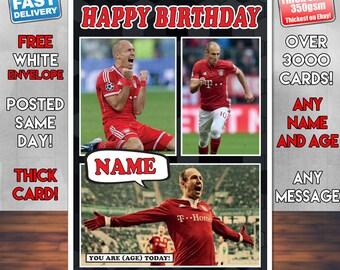 826ba9e0c44 BMPrintsShop Arjen Robben Celebrity Personalised Birthday Card - Any Name
