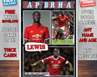 e25170e6e BMPrintsShop Romelu Lukaku Personalised Birthday Card - Any Name