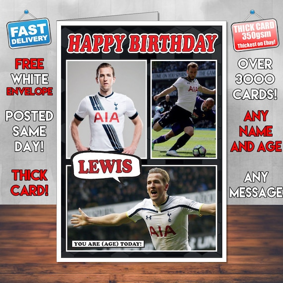 PERSONALISED HARRY KANE A5 BIRTHDAY CARD ANY NAME AGE GREETING OCCASION