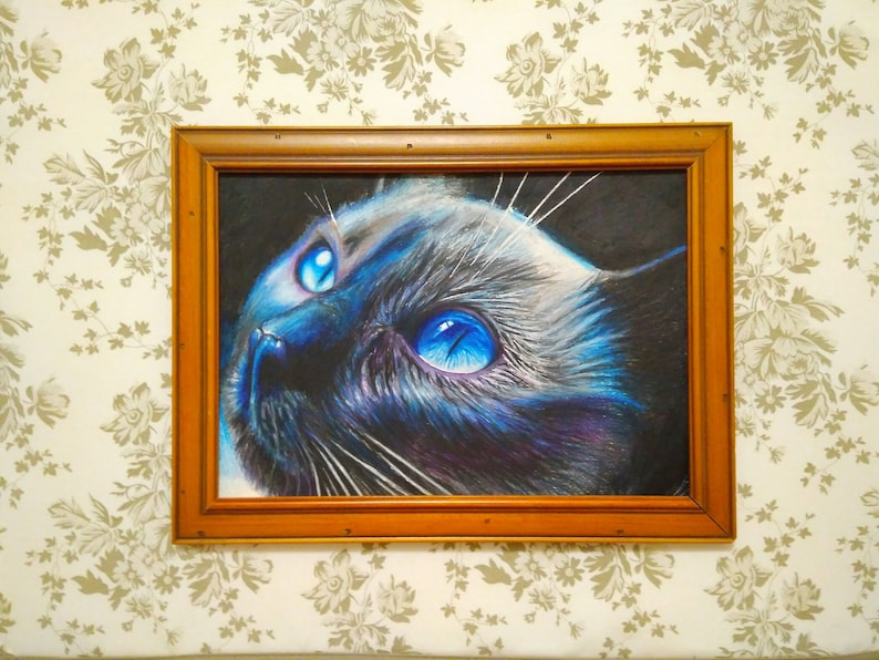 Handmade Pencil drawing Wall decor Art painting picture portrait black cat with blue eyes