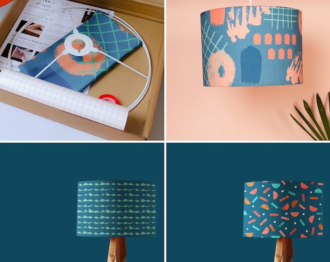 Lampshade Making Kit - Choice of 3 Abstract Teal and Terracotta Patterns & Full Instructions. 20cm or 30cm. FEATURED in Caboodle Magazine