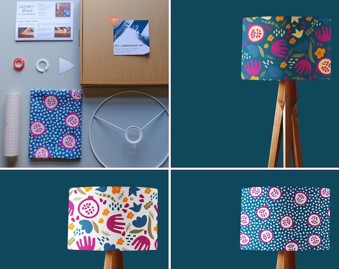 Lampshade Making Kit - Choice of 3 Pomegranate Designs & Full Instructions. 20cm or 30cm Lampshade.