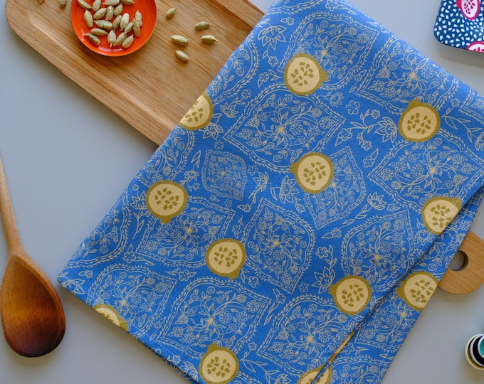 Tea towel - Blue and Olive Pomegranate Ogee Cotton Linen Kitchen Towel