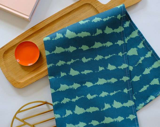 Tea towel - Navy & Turquoise Soundwaves Cotton Linen Tea towel