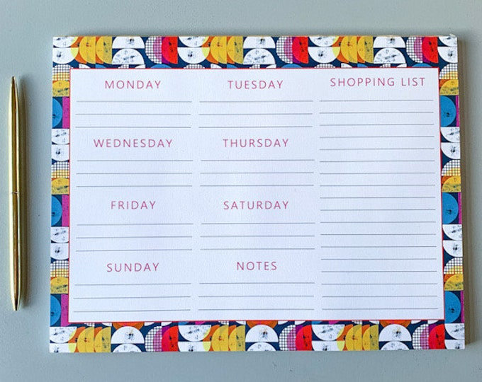 Weekly Planner Pad & Shopping List - Mid-Century Rainbow