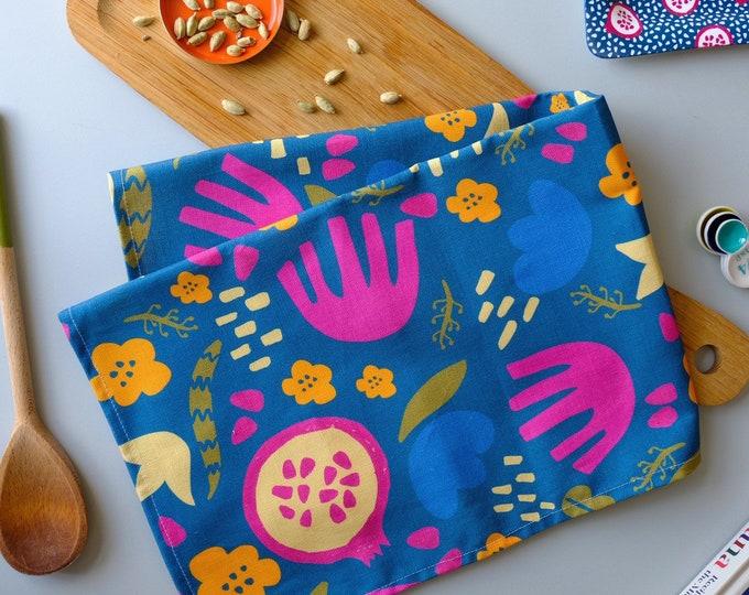 Tea towel - Blue Pomegranate & Flowers Cotton Linen Kitchen Towel