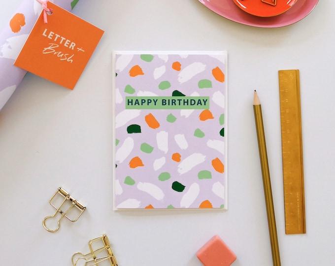 Birthday Card - Lilac Terrazzo. Happy Birthday Message - Blank Inside.