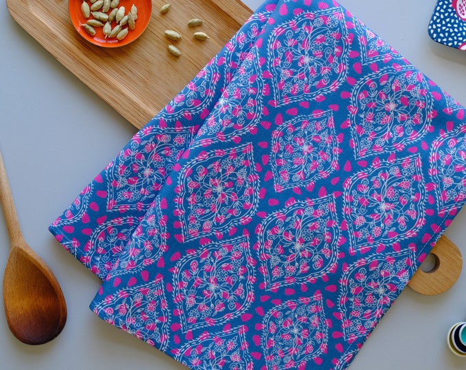 Tea towel - Blue and Pink Pips Ogee Floral Cotton Linen Kitchen Towel