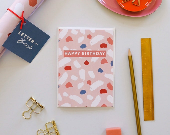Birthday Card - Pink Terrazzo. Happy Birthday Message - Blank Inside.