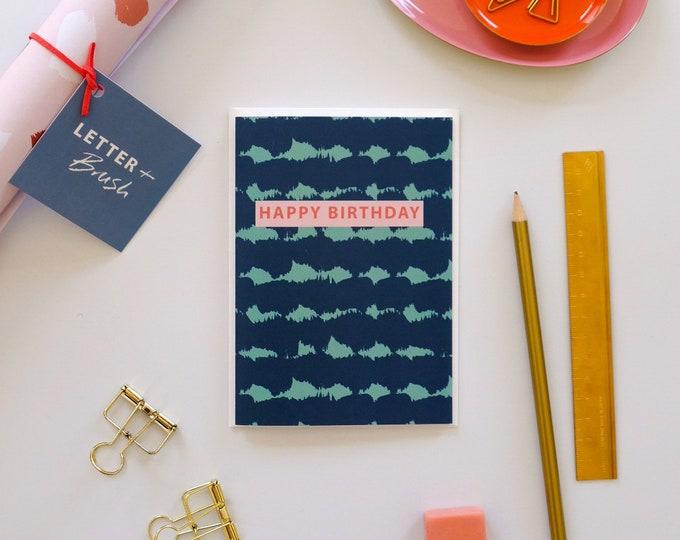 Birthday Card - Blue & Green Soundwaves Pattern. Happy Birthday Message - Blank Inside.