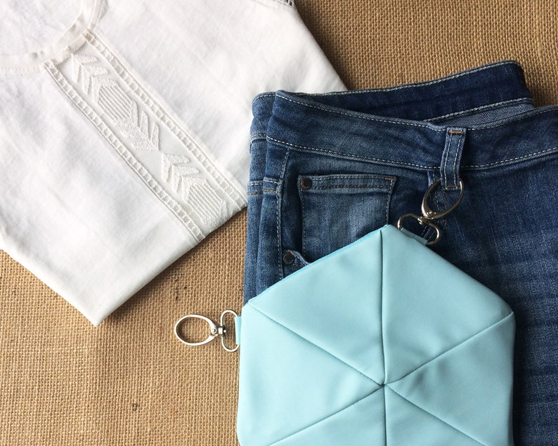 with adjustable and removable strap pink or aqua blue eco-leather hexagon shaped Hip bag  belt bag  fanny pack