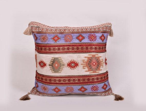 Turkish Pillowcase,Turkey Rug Pillow,Decorative Pillow,Ethnic Kilim Pillow,Home Decor,Turkish Kilim Pillow,Square Cushion,16x16 inc 40x40 cm