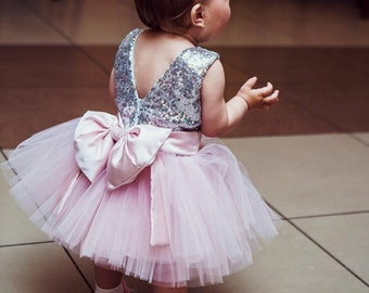 ea85ee068611 Birthday dress Pink and Silver Birthday girls infant dress