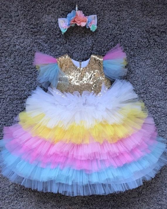 Tutu Dress Dress Flower Girl Dress Baby White Dress For Baby White Pastel Rainbow Dress 1st Birthday Girl Outfit