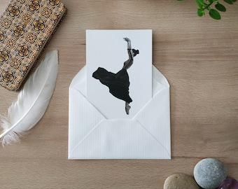 Postcard / Map / Dance / Illustration / Black and white / Wall decoration / Print / Postcard