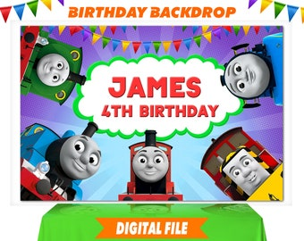 Thomas The Train Backdrop Birthday Banner Party Personalize Digital File