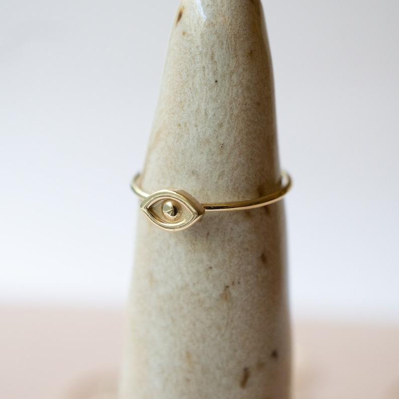 Evil Eye Ring 14K Solid Gold