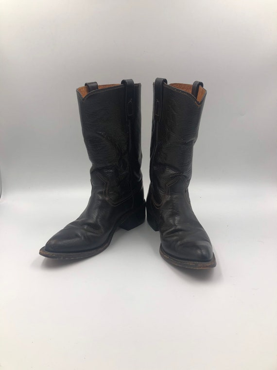 Black boots, men's boots, real leather, vintage bo