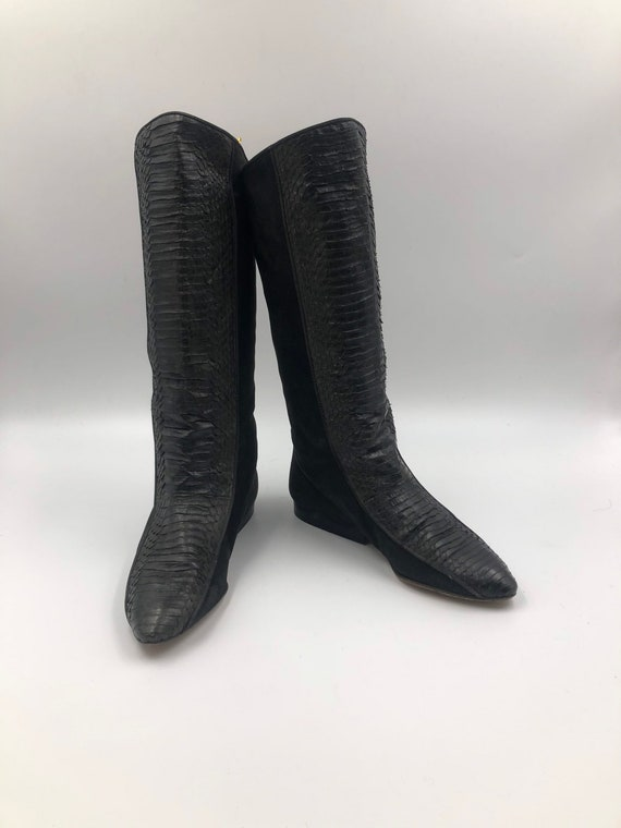 Black boots, women's boots, real leather&suede boo