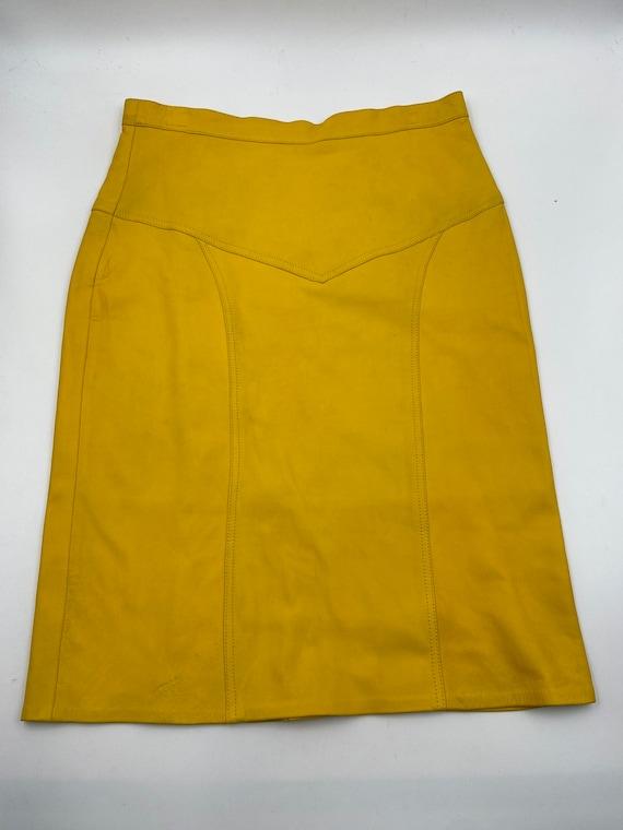 Yellow leather skirt women size 14