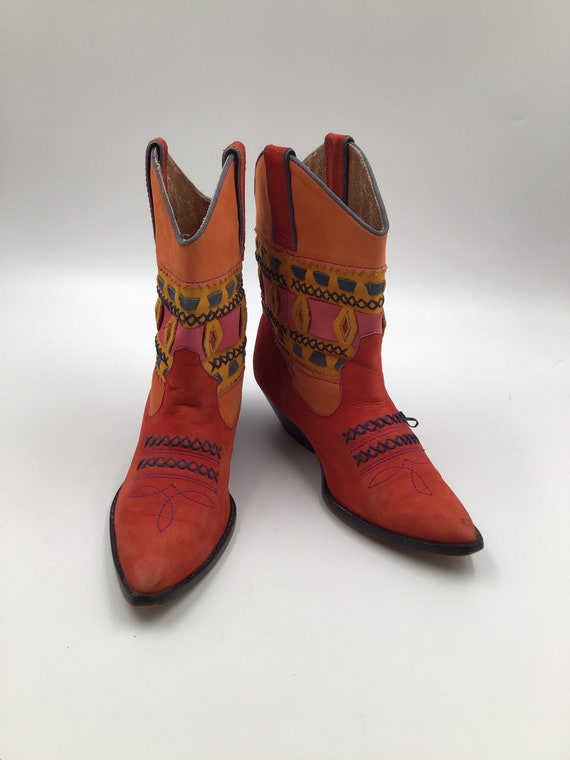 Red suede leather cowboy boots woman 6