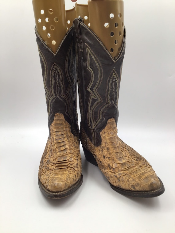 Beige boots, men's boots, python leather vintage,