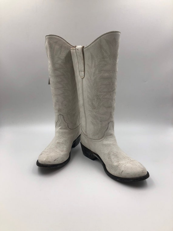 White boots, women's boots, real leather, vintage,
