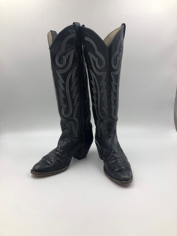 Black boots, women's boots, real leather, vintage,