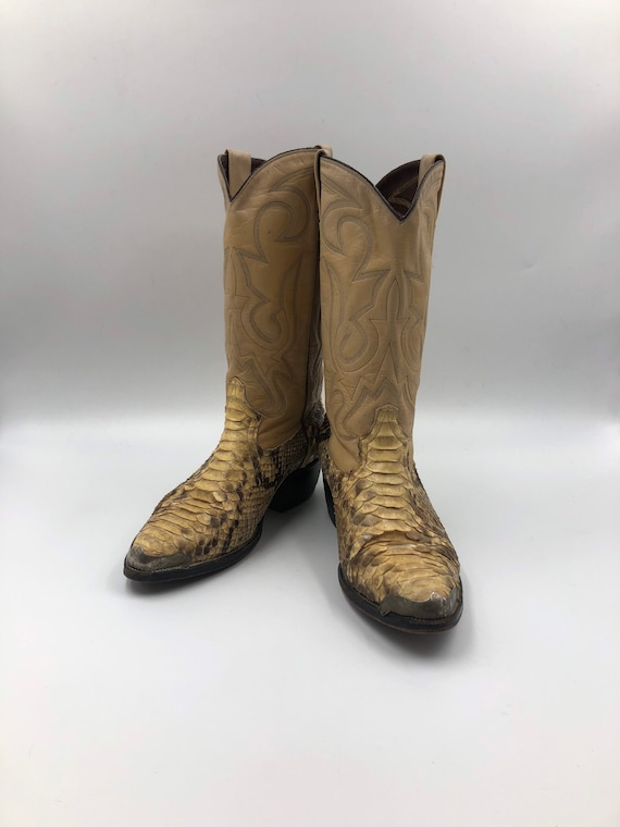 Beige boots, men's boots, real leather, vintage, e