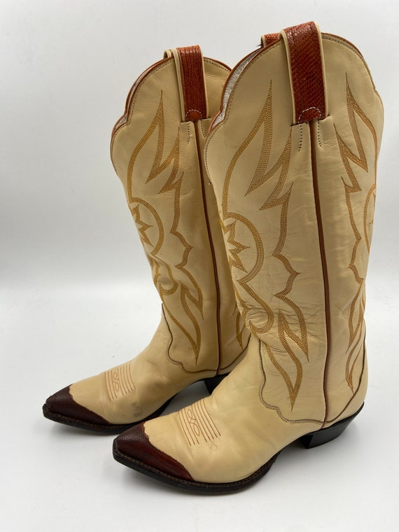Beige boots, women's boots from real leather, vint