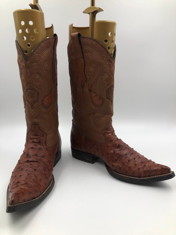 Ostrich leather cowboy boots 9 1/2
