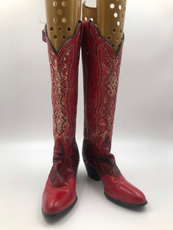 Red boots, women's boots, high length boots, snake