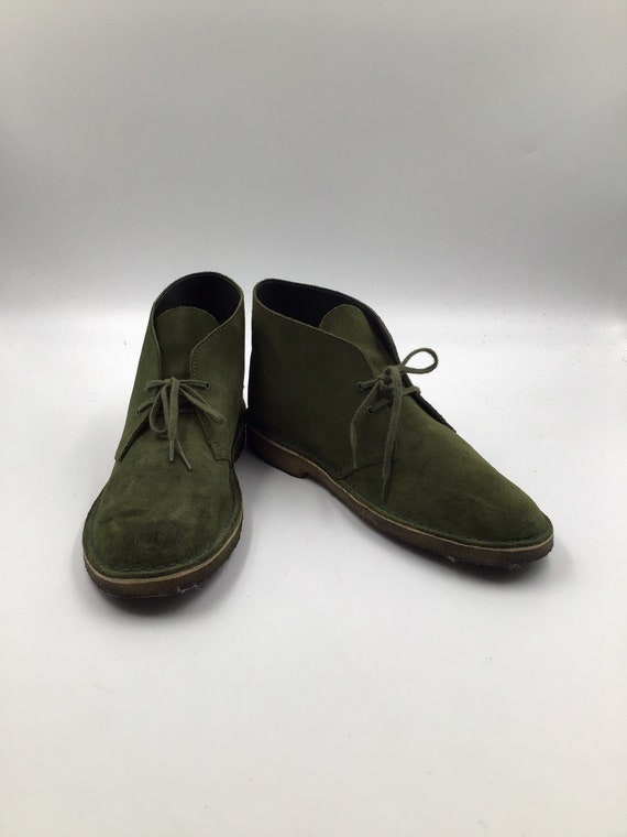 Green suede men's slippers 10