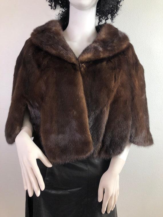 Brown women's bolero real mink fur festive look ci