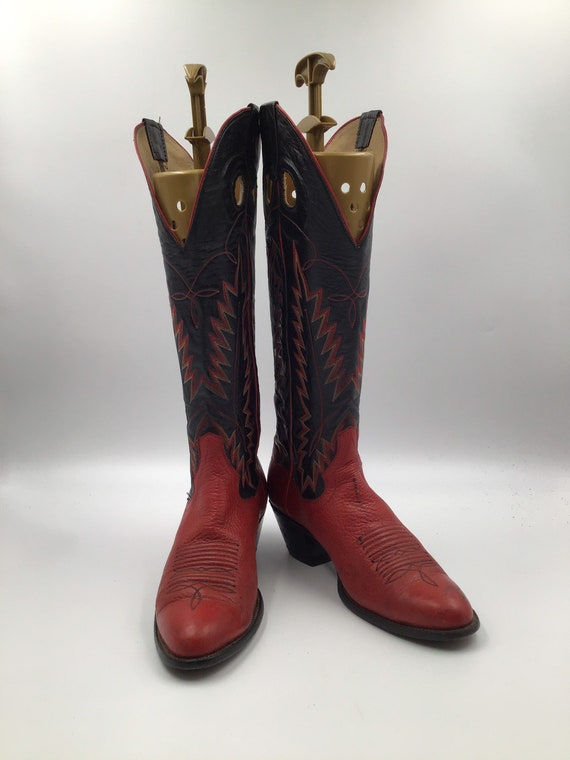 Red leather woman cowboy boots 8