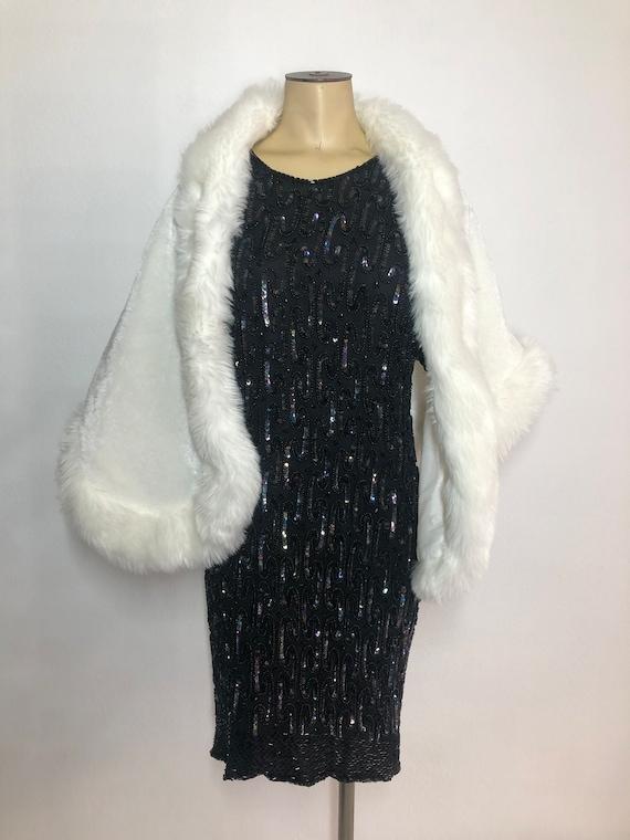 White women's bolero from faux fur festive look c… - image 4