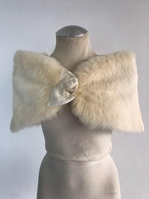 White Women's Collar real rabbit fur festive look