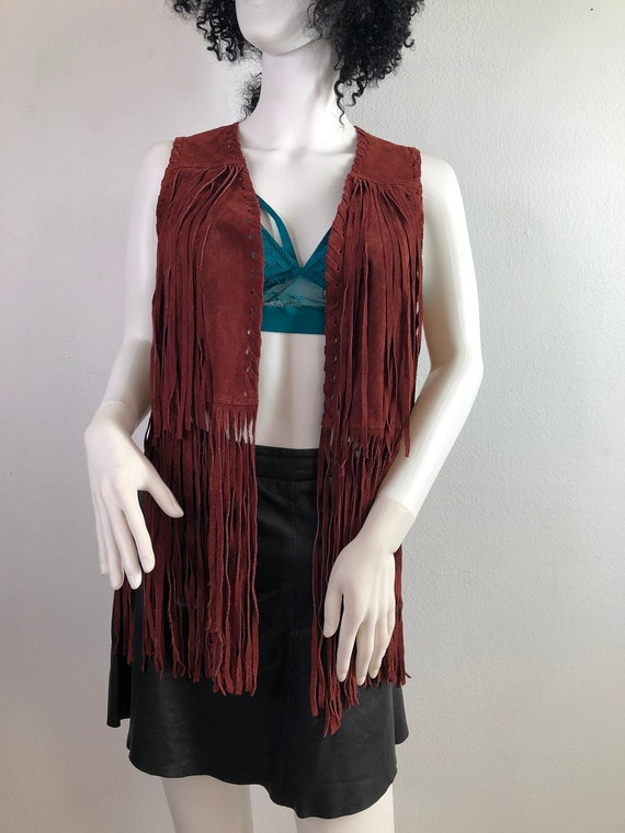 Red fringe suede vest women size small