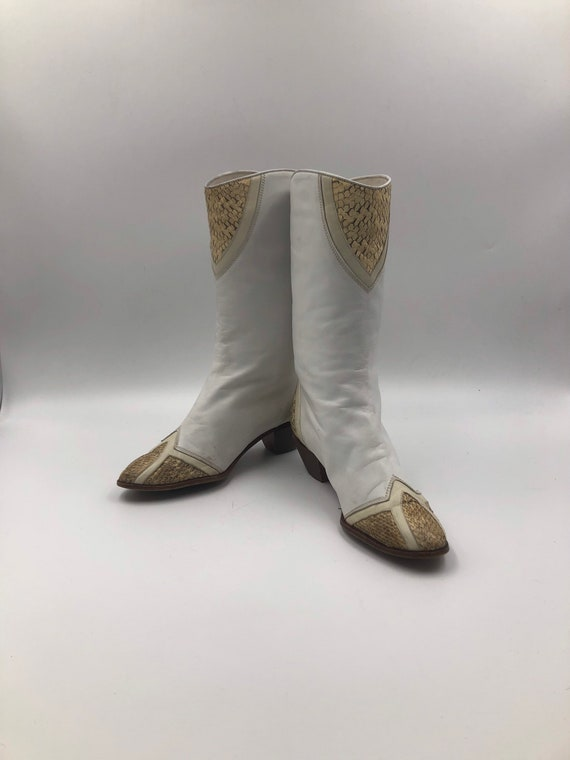 White boots, women's boots, real snake leather, vi